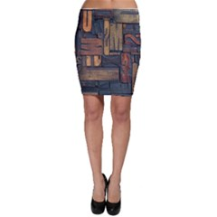Letters Wooden Old Artwork Vintage Bodycon Skirt