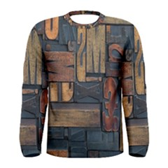 Letters Wooden Old Artwork Vintage Men s Long Sleeve Tee