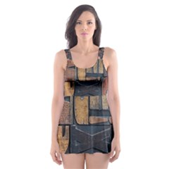 Letters Wooden Old Artwork Vintage Skater Dress Swimsuit