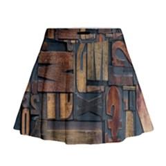 Letters Wooden Old Artwork Vintage Mini Flare Skirt