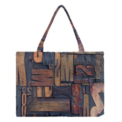 Letters Wooden Old Artwork Vintage Medium Tote Bag