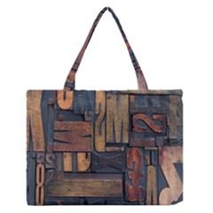 Letters Wooden Old Artwork Vintage Medium Zipper Tote Bag