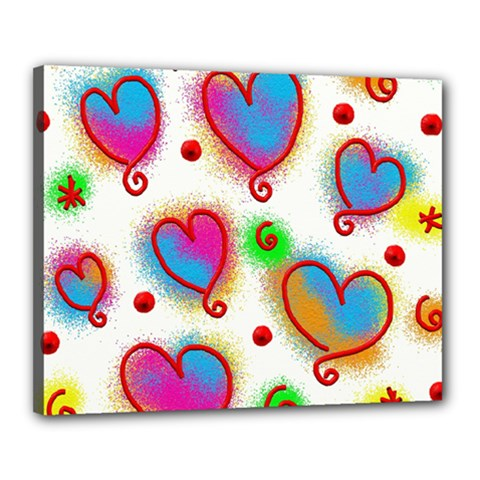 Love Hearts Shapes Doodle Art Canvas 20  X 16
