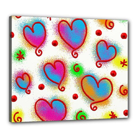 Love Hearts Shapes Doodle Art Canvas 24  x 20