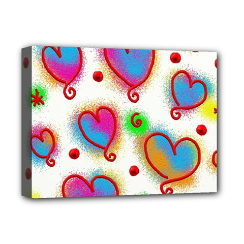 Love Hearts Shapes Doodle Art Deluxe Canvas 16  X 12