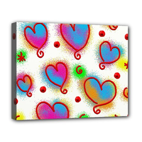 Love Hearts Shapes Doodle Art Deluxe Canvas 20  x 16