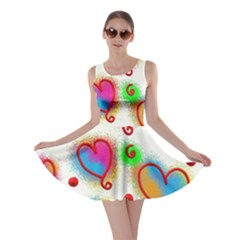 Love Hearts Shapes Doodle Art Skater Dress