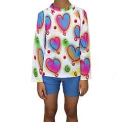 Love Hearts Shapes Doodle Art Kids  Long Sleeve Swimwear