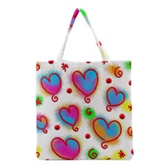 Love Hearts Shapes Doodle Art Grocery Tote Bag