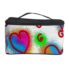Love Hearts Shapes Doodle Art Cosmetic Storage Case