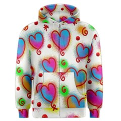 Love Hearts Shapes Doodle Art Men s Zipper Hoodie