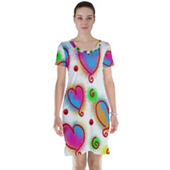 Love Hearts Shapes Doodle Art Short Sleeve Nightdress