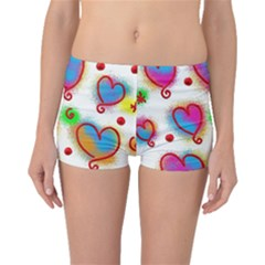 Love Hearts Shapes Doodle Art Boyleg Bikini Bottoms