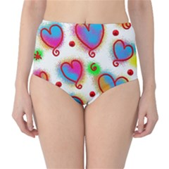 Love Hearts Shapes Doodle Art High-Waist Bikini Bottoms