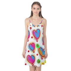 Love Hearts Shapes Doodle Art Camis Nightgown