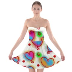 Love Hearts Shapes Doodle Art Strapless Bra Top Dress
