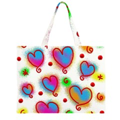 Love Hearts Shapes Doodle Art Large Tote Bag
