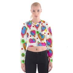 Love Hearts Shapes Doodle Art Women s Cropped Sweatshirt