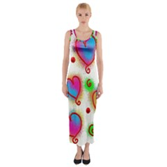 Love Hearts Shapes Doodle Art Fitted Maxi Dress