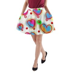 Love Hearts Shapes Doodle Art A Line Pocket Skirt