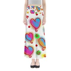 Love Hearts Shapes Doodle Art Maxi Skirts