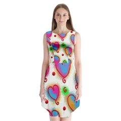 Love Hearts Shapes Doodle Art Sleeveless Chiffon Dress