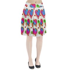 Love Hearts Shapes Doodle Art Pleated Skirt
