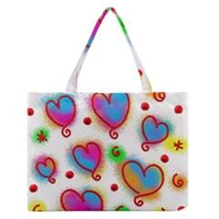 Love Hearts Shapes Doodle Art Medium Zipper Tote Bag