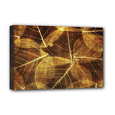 Leaves Autumn Texture Brown Deluxe Canvas 18  x 12