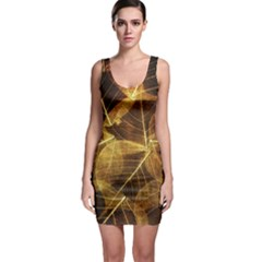 Leaves Autumn Texture Brown Sleeveless Bodycon Dress