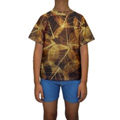 Leaves Autumn Texture Brown Kids  Short Sleeve Swimwear