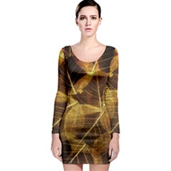 Leaves Autumn Texture Brown Long Sleeve Bodycon Dress