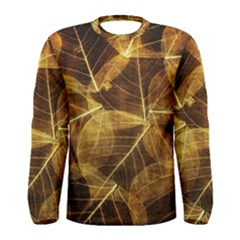 Leaves Autumn Texture Brown Men s Long Sleeve Tee