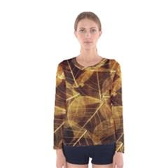 Leaves Autumn Texture Brown Women s Long Sleeve Tee