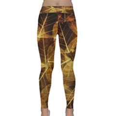 Leaves Autumn Texture Brown Classic Yoga Leggings