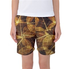 Leaves Autumn Texture Brown Women s Basketball Shorts