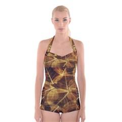 Leaves Autumn Texture Brown Boyleg Halter Swimsuit