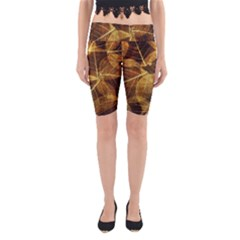 Leaves Autumn Texture Brown Yoga Cropped Leggings