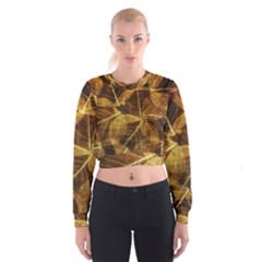 Leaves Autumn Texture Brown Women s Cropped Sweatshirt