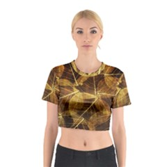 Leaves Autumn Texture Brown Cotton Crop Top