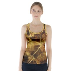 Leaves Autumn Texture Brown Racer Back Sports Top