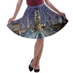 London Travel A-line Skater Skirt