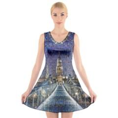 London Travel V Neck Sleeveless Skater Dress
