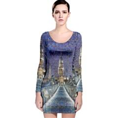 London Travel Long Sleeve Velvet Bodycon Dress