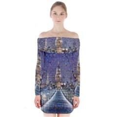 London Travel Long Sleeve Off Shoulder Dress