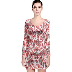 Merry Christmas Xmas Pattern Long Sleeve Bodycon Dress