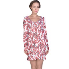 Merry Christmas Xmas Pattern Long Sleeve Nightdress