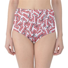 Merry Christmas Xmas Pattern High-Waist Bikini Bottoms
