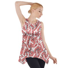 Merry Christmas Xmas Pattern Side Drop Tank Tunic