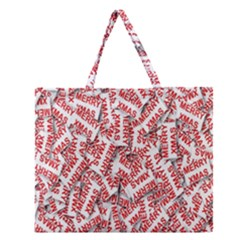 Merry Christmas Xmas Pattern Zipper Large Tote Bag
